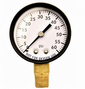 SuperPro 0-60 PSI Bottom-Mount Steel Pressure Gauge (1/4″ Threaded)